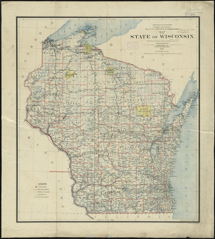 Map of the state of Wisconsin