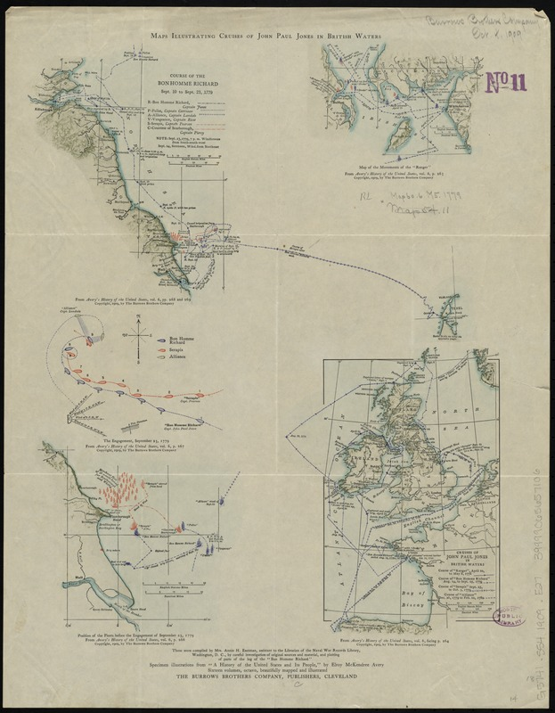 Maps illustrating cruises of John Paul Jones in British waters