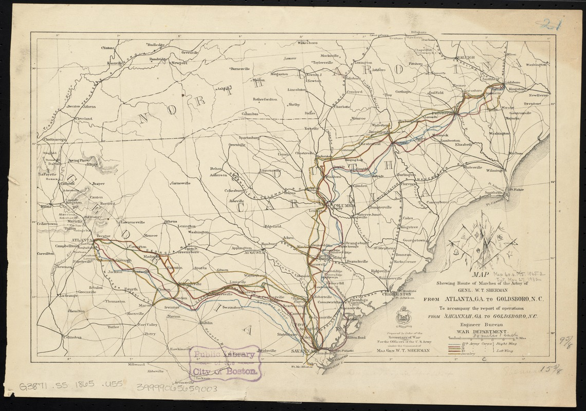 Map showing route of marches of the army of Genl. W.T. Sherman, from Atlanta, Ga. to Goldsboro, N.C