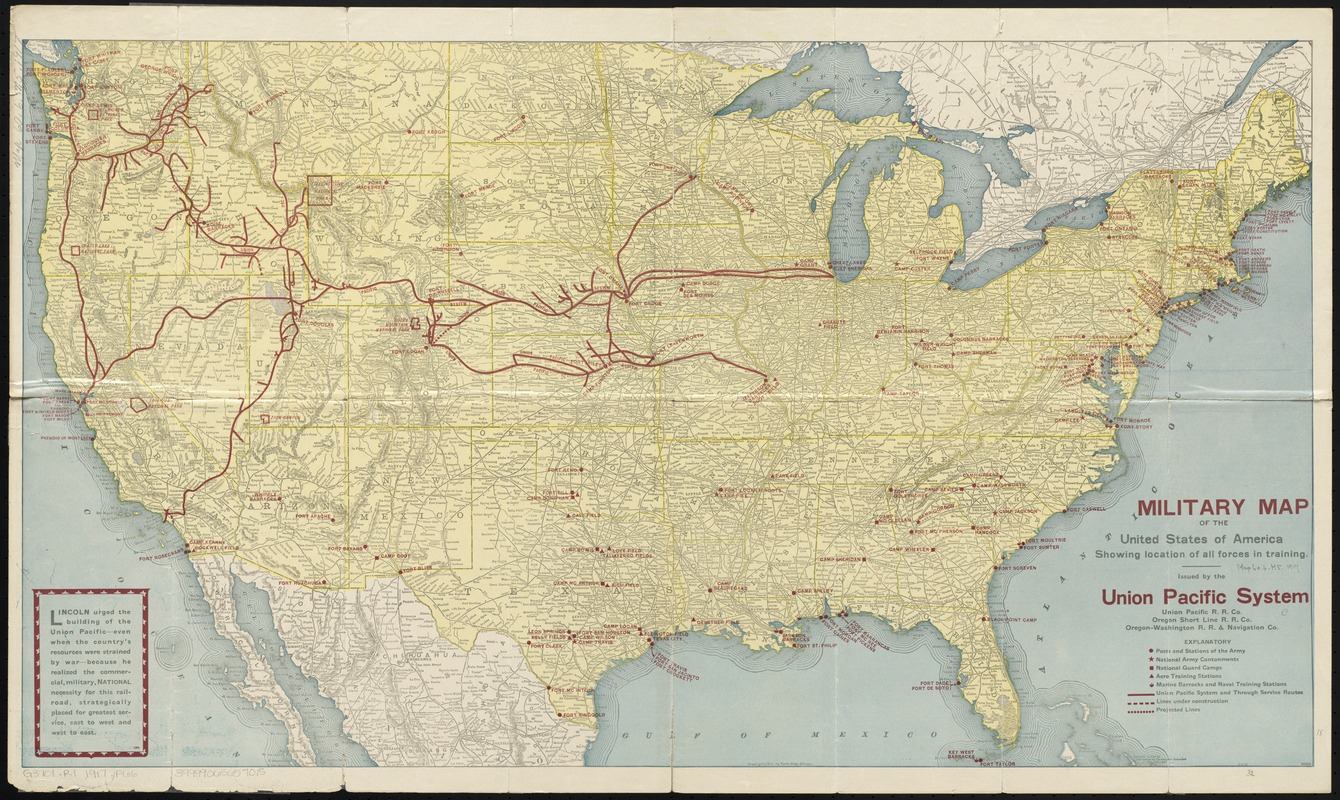 Military map of the United States of America showing location of all forces in training