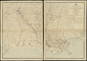Post route map of the state of Louisiana with adjacent parts of Mississippi, Arkansas, and Texas