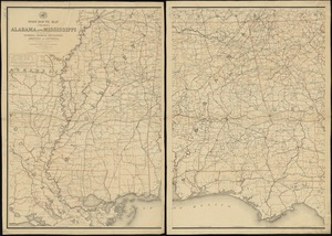 Post route map of the states of Alabama and Mississippi with adjacent parts of Florida, Georgia, Tennessee, Arkansas and Louisiana