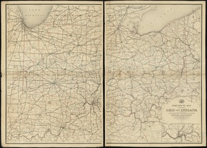 Post route map of the states of Ohio and Indiana with adjacent parts of Pennsylvania, Michigan, Illinois, Kentucky and West Virginia showing post offices, with the intermediate distances between them and mail routes in operation on 1st August 1883