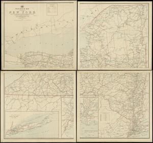 Post route map of the State of New York showing post offices with the intermediate distances on mail routes in operation on the 1st of September, 1897