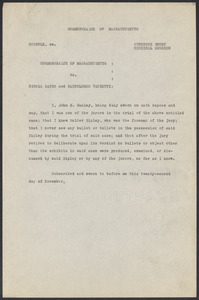 Sacco-Vanzetti Case Records, 1920-1928. Defense Papers. Jurors' Affidavits, 1921. Box 7, Folder 1, Harvard Law School Library, Historical & Special Collections