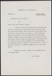 Sacco-Vanzetti Case Records, 1920-1928. Defense Papers. Affidavit of Alfred L. Atwood, November 16, 1921. Box 7, Folder 2, Harvard Law School Library, Historical & Special Collections