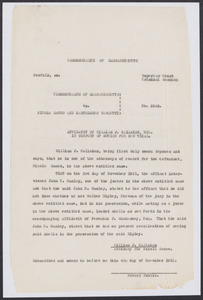 Sacco-Vanzetti Case Records, 1920-1928. Defense Papers. Affidavit of William J. Callahan, November 4, 1921. Box 7, Folder 3, Harvard Law School Library, Historical & Special Collections