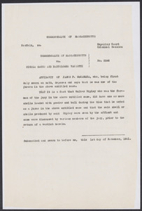 Sacco-Vanzetti Case Records, 1920-1928. Defense Papers. Affidavits of Fred H. Moore and William J. Callahan, December 1921. Box 7, Folder 14, Harvard Law School Library, Historical & Special Collections