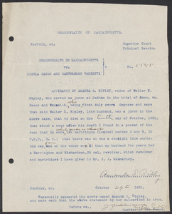 Sacco-Vanzetti Case Records, 1920-1928. Defense Papers. Affidavit of Amanda Ripley (signed original), October 29, 1921. Box 7, Folder 16, Harvard Law School Library, Historical & Special Collections