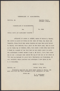 Sacco-Vanzetti Case Records, 1920-1928. Defense Papers. Affidavit of Amanda Ripley (carbons), October 29, 1921. Box 7, Folder 17, Harvard Law School Library, Historical & Special Collections