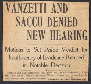 """Sacco-Vanzetti Case Records, 1920-1928. Defense Papers. Clipping: """"Sacco and Vanzetti Denied New Hearing"""" Boston Sunday Post, December 25, 1921. Box 7, Folder 28, Harvard Law School Library, Historical & Special Collections"""