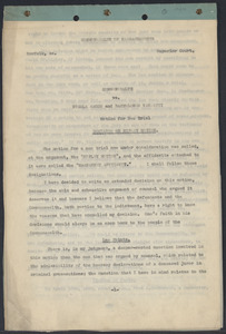 Sacco-Vanzetti Case Records, 1920-1928. Defense Papers. Decision on Ripley Motion, October 1, 1924. Box 7, Folder 34, Harvard Law School Library, Historical & Special Collections