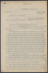 Sacco-Vanzetti Case Records, 1920-1928. Defense Papers. Affidavit of Fred H. Moore, May, 1922. Box 8, Folder 10, Harvard Law School Library, Historical & Special Collections