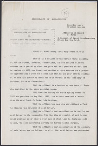 Sacco-Vanzetti Case Records, 1920-1928. Defense Papers. Affidavit of Edward P. Burke in Support of Second Supplementary Motion for New Trial, September 24, 1923. Box 8, Folder 22, Harvard Law School Library, Historical & Special Collections