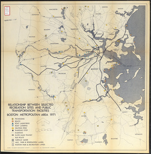 Relationship between selected recreation sites and public transportation facilities Boston metropolitan area 1971