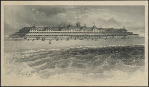 Long Beach hotel, bath-houses, marine railway and point lookout pavilion. Two grand concerts daily