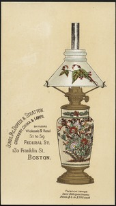 Jones, McDuffee & Stratton. Crockery, china & lamps, six floors, wholesale & retail, 51 to 59 Federal St., 120 Franklin St. Boston.