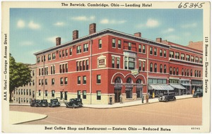 The Berwick, Cambridge, Ohio -- Leading Hotel, best coffee shop and restaurant -- East Ohio -- reduced rates