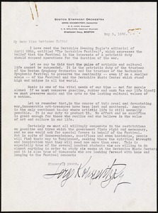 Letter from Serge Koussevitzky to Gertrude Robinson Smith