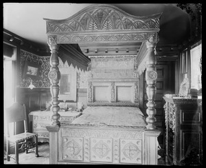 Anson Phelps Stokes, 229 Madison Ave NYC: bedroom with ornate canopied bed