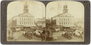 Faneuil Hall, Boston, looking west from Quincy Market to Beacon Hill