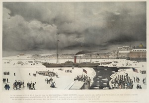 This print, representing the B & N. A Royal Mail steam ship Britannia, John Hewitt, commander, leaving her dock at East Boston on the 3d of February 1844 on her voyage to Liverpool, is respectfully dedicated by the publishers to the merchants of Boston who projected and paid for a canal cut in the ice 7 miles long and 100 feet wide. Much credit is due to the committee and to the contractors Messrs. Gage, Hettenger & Co. and John Hill for their perseverance in accomplishing so arduous an undertaking.