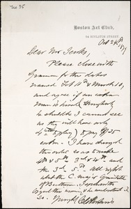 Letter from Charles C. Perkins to Francis H. Jenks, 1879 October 24