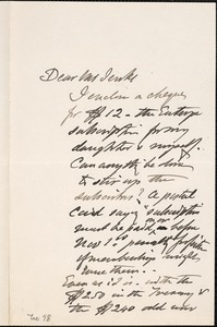 Letter from Charles C. Perkins to Francis H. Jenks, 1880 October 23