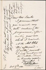 Letter from Charles C. Perkins to Francis H. Jenks, 1880 October 27