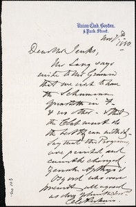 Letter from Charles C. Perkins to Francis H. Jenks, 1880 November 7
