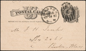 Postcard from Charles C. Perkins to Francis H. Jenks, 1883 November 19