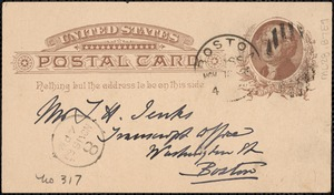 Postcard from Charles C. Perkins to Francis H. Jenks, 1883? November 12