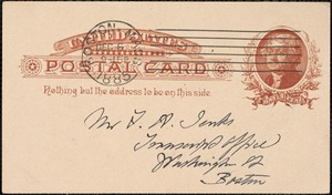Postcard from Charles C. Perkins to Francis H. Jenks, 1885 December 5