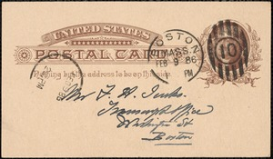 Postcard from Charles C. Perkins to Francis H. Jenks, 1886 February 8