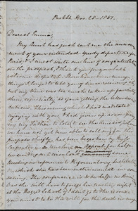 Letter from Mary Anne Estlin, Park St., [Bristol, England], to Emma Forbes Weston, Nov. 28, 1851