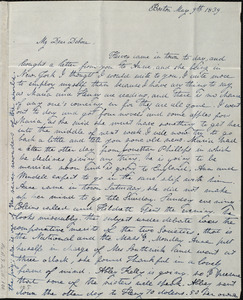 Letter from Lucia Weston, Boston, [Mass.], to Deborah Weston, May 9th, 1839