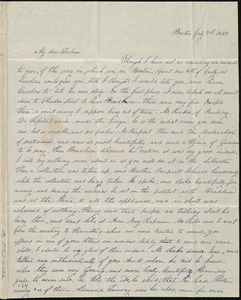 Letter from Lucia Weston, Boston, [Mass.], to Deborah Weston, July 7th, 1839