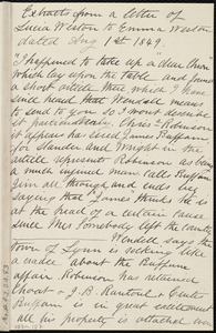 Extract of a letter from Lucia Weston, [Weymouth, Mass.], to Emma Forbes Weston, Aug. 1, 1849