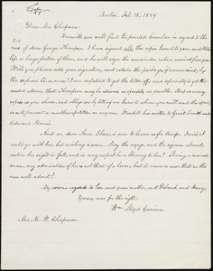 Copy of letter from William Lloyd Garrison, Boston, [Mass.], to Maria Weston Chapman, Feb. 18, 1859