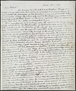 Circular letter from William Lloyd Garrison, Boston, [Mass.], to Edmund Quincy, Mar[ch] 1, 1839