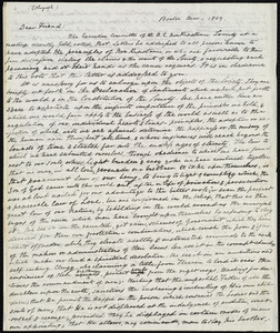 Circular letter from William Lloyd Garrison, Boston, [Mass.], to George William Benson, Mar[ch] 1, 1839