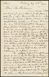 Letter from William Lloyd Garrison, Roxbury, [Mass.], to Maria Weston Chapman, Aug. 31, 1874