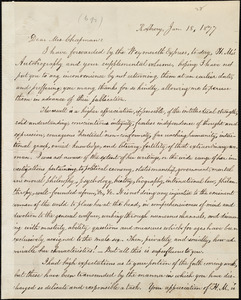 Copy of letter from William Lloyd Garrison, Roxbury, [Mass.], to Maria Weston Chapman, Jan. 18, 1877