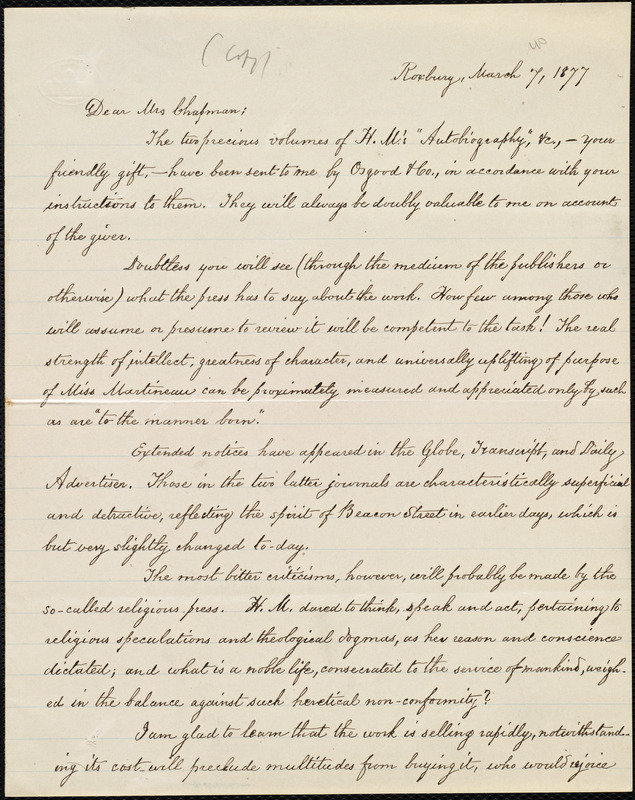 Copy of letter from William Lloyd Garrison, Roxbury, [Mass.], to Maria Weston Chapman, March 7, 1877