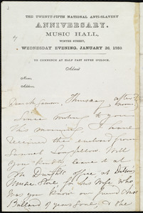 Letter from Maria Weston Chapman to William Lloyd Garrison, Thursday afternoon, [1859?]