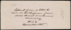 Letter from Maria Weston Chapman, 20 Chauncy St[reet], [Boston, Mass.], to William Lloyd Garrison, Nov. 30th, 1865