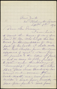 Letter from Maria Weston Chapman, 30 Washington Square, New York, [NY], to William Lloyd Garrison, Sept. 8th, 1876