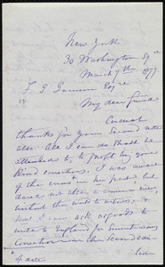 Letter from Maria Weston Chapman, 30 Washington Sq., New York, [NY], to Francis Jackson Garrison, March 9th, 1877