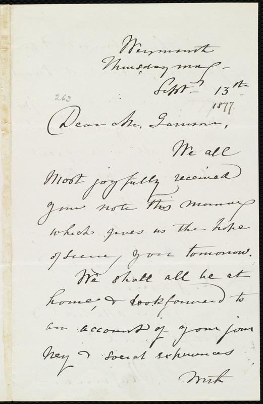 Letter from Maria Weston Chapman, Weymouth, [Mass.], to William Lloyd Garrison, Thursday morn'g, Sept. 13th, [1877]