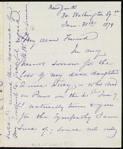 Letter from Maria Weston Chapman, 30 Washington Squ., New York, [NY], Jan. 31st, 1879